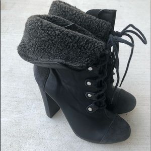 Victoria's Secret black leather lace up booties.